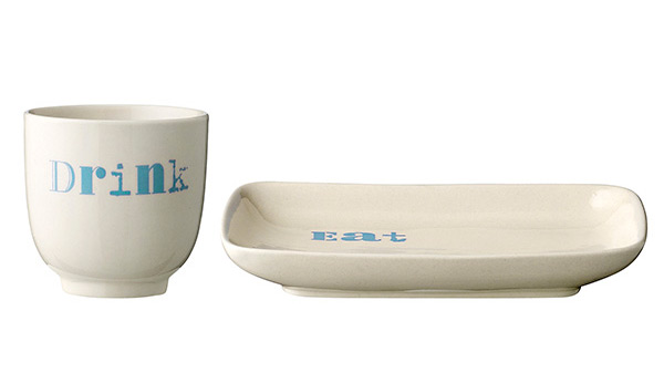Becher Teller Set Eat Drink blue von Bloomingville