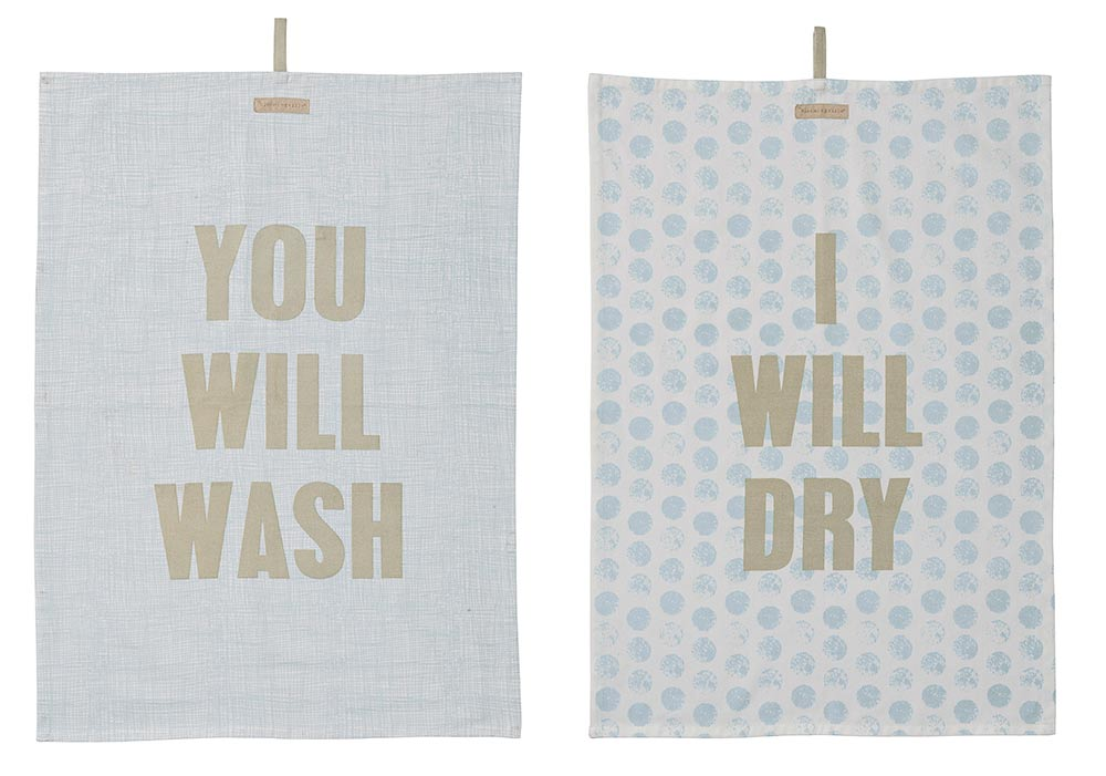 Bloomingville Geschirrtuch Set You will wash - I will dry