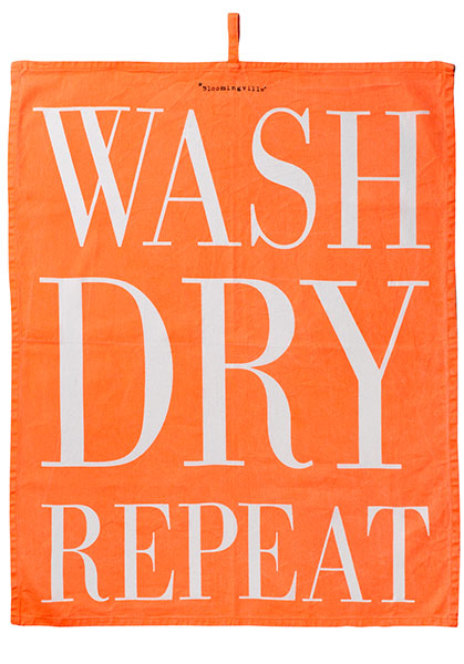 Geschirrtuch Wash Dry Repeat von Bloomingville orange white