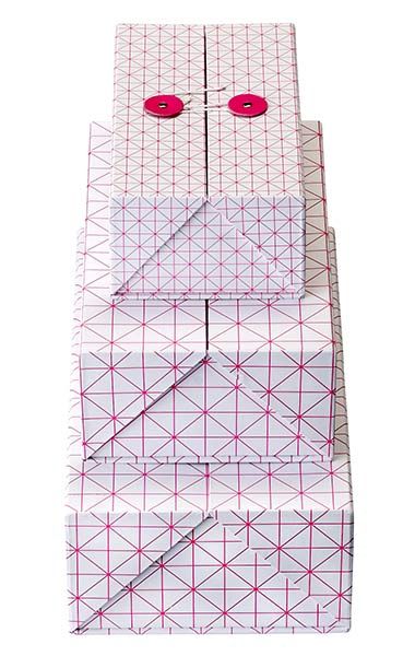 Klappbox Set von Bloomingville Pattern in neon-pink