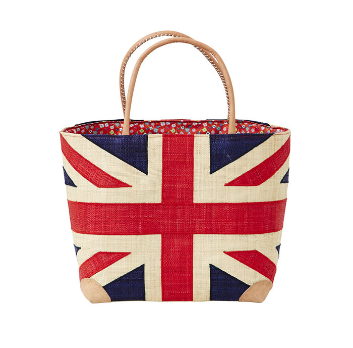 Rice Shopper Great Britain Tasche M aus Bast mit Lederhenkel