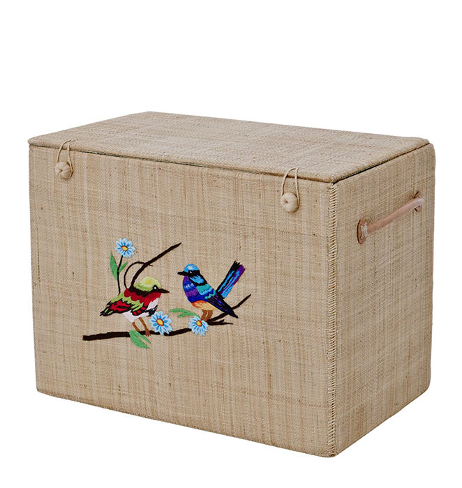 Rice Korb-Box aus Bast Bird and Flower M natur