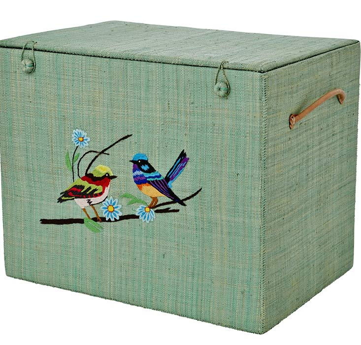 Rice Korb-Box aus Bast Bird and Flower XL t�rkis