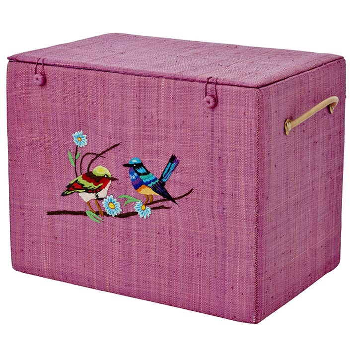 Rice Korb-Box aus Bast Bird and Flower L pink