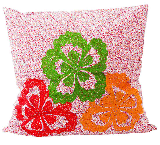 Rice Kissenh�lle Neon Flowers red f�r Kissen 60 x 60cm