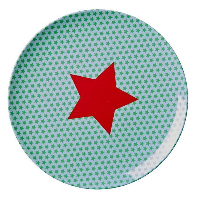 Rice Lunch Teller aus Melamin f�r Kinder Star green