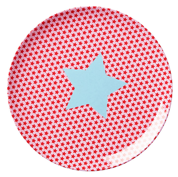 Rice Lunch Teller aus Melamin f�r Kinder Star red