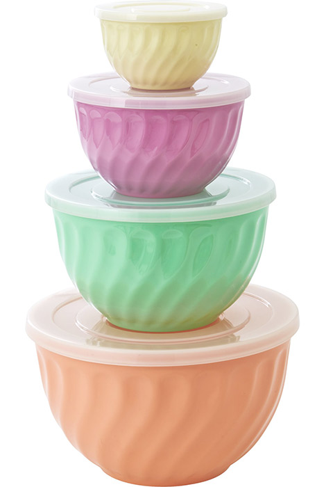Rice Retro Sch�ssel-Set aus Melamin in Pastell-Farben