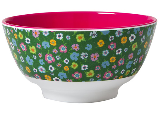 Rice Sch�ssel Green Flower Print