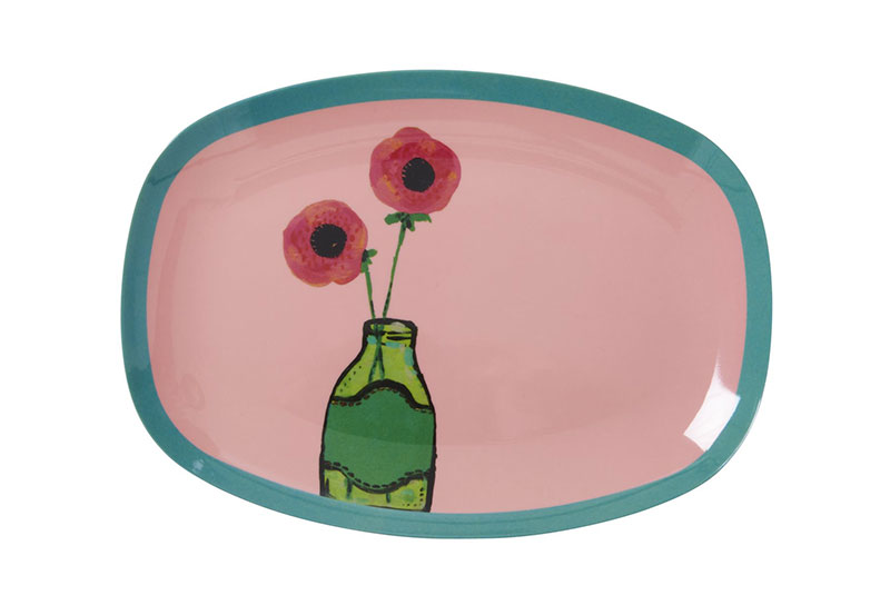 Rice Design Tablett Blume small rosa