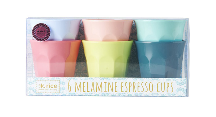 Rice Becherset 6 Espresso Cups 6 Shine Collection Colours