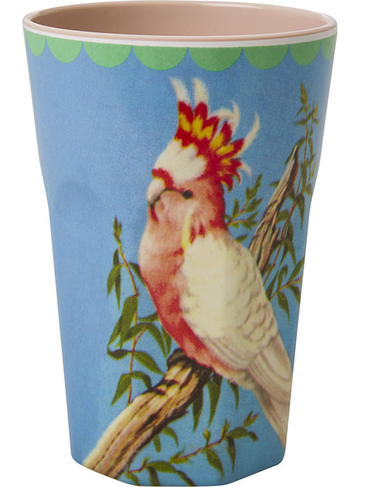 Rice Becher Latte Cup Melamin Vintage Cockatoo Bird