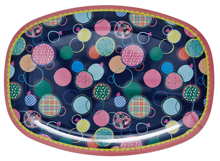 Rice Tablett aus Melamin mit Bubble Print