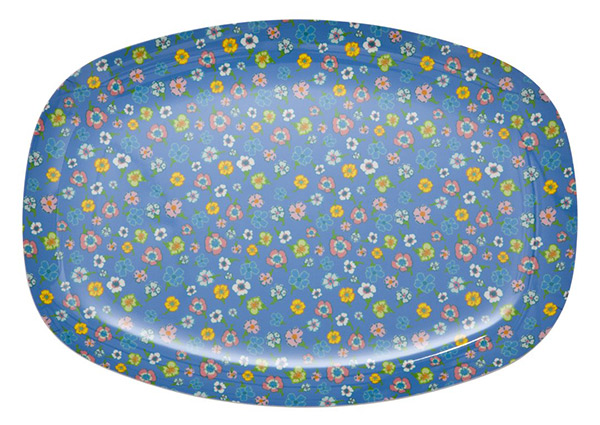 Rice Tablett Celebration blue with flowers