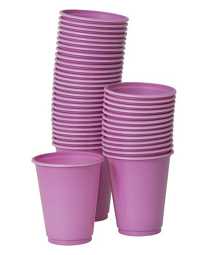 50 Plastikbecher in pink