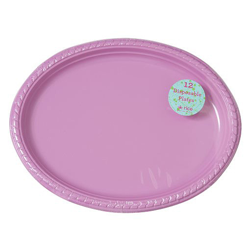 Rice 12 Plastikteller oval in pink