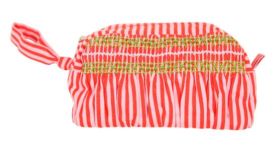 Rice Make-Up Tasche rot-rosa gestreift