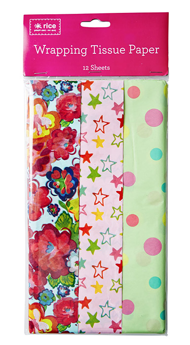 Rice Geschenkpapier Flower, Stars and Dots Print
