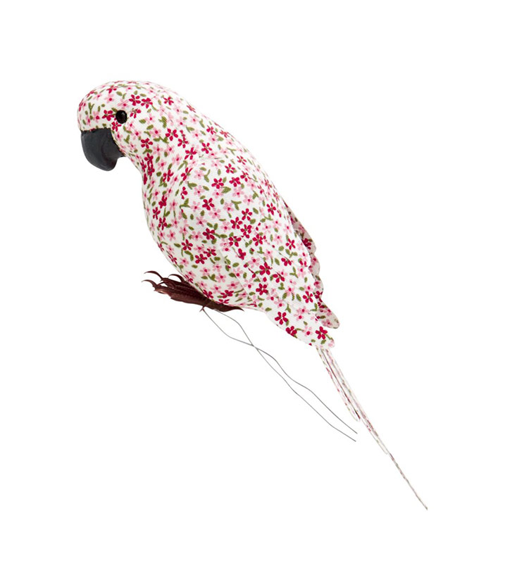 Rice Dekovogel aus Stoff red flower